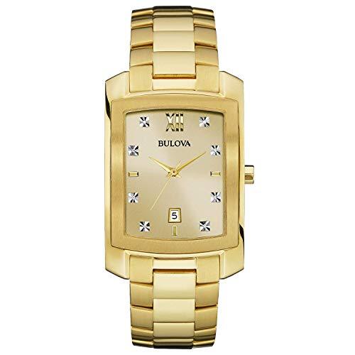 Bulova Men's 97D107XG Genuine Diamond Markers Yellow Gold Quartz Dress 31mm Watch (Certified Refurbished)