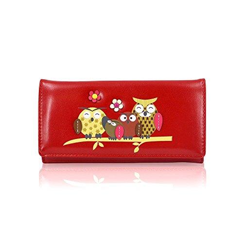 Damen Mädchen Designer Leder Familie Eule Geldbörse COIN Geldbörse Handtasche Tasche Mehrfarbig Owl Family Black Owl Family Red ZtcwX