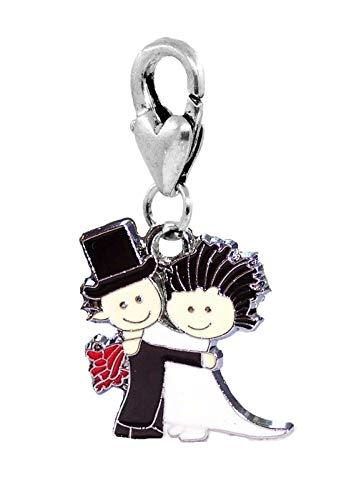 - Bride & Groom Black White Wedding Shower Gift Lobster Clip Charm for Bracelets Jewelry Making Supply by Wholesale Charms