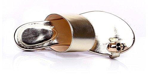 cráneo playa de verano sandalias y zapatillas personalidad de las mujeres capsula sandalias de punta y zapatillas Gold