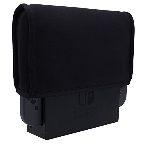 MXRC dust cover sleeve case made of soft neoprene soft for Nintendo Switch in TV dock premium ultra fine soft velvet lining inside, with back cable port accessible