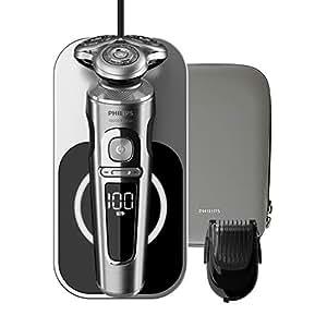 Philips Serie Prestige SP9861/16 - Afeitadora Eléctrica para Hombre Rotativa, con Base de Carga Inalambrica, Recortador de Barba, Estuche de Viaje, Inox