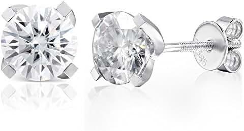 TransGems Moissanite 2.0ctw GH Colorless, Screw Back 14K White Gold Round 4 Prong Stud Earrings