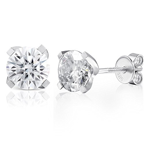 14K White Gold 2.0ctw 6.5mm Lab Grown Moissanite Diamond Stud Earrings 4 Prong Screw Back for Women (GH) by Transgems