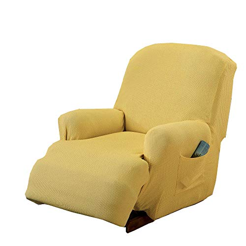 MarCielo Sofa Stretch Slipcover Recliner, 1-Piece Couch Cover, Sofa Cover, Furniture Chair Slipcover (Beige Light Yellow)