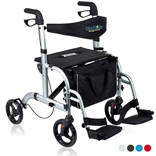 Health Line 2 in 1 Rollator-Transport Chair w/Paded Seatrest, Reversible Backrest and Detachable Footrests, Silver White (Drive Medical Duet Transport Wheelchair Rollator Walker Burgundy)