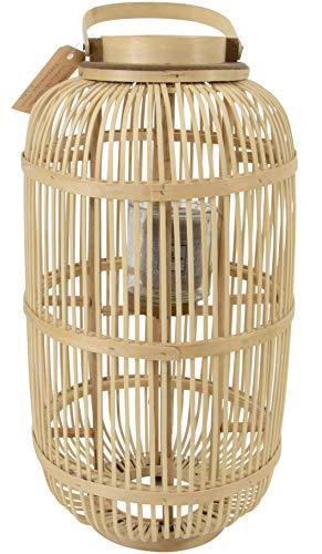 Windlicht Bodenlicht Laterne Bambus Glas 30×56 cm
