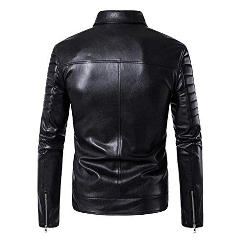 Moto Noir Slim Éclair Fit Veste Manteau Newbestyle Cuir De Homme Blousons Fermeture ZnxPw4z7q