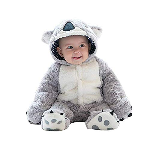mikistory Baby Romper Infant Jumpsuit Unisex 3D Animal Cosplay Costume Outfit Winter Hoodie Snowsuit for Toddler with Footies (Grey Koala, -