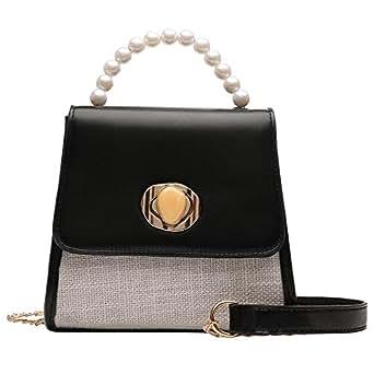 TOOGOO Summer Pearl Small Bag Female New Wild Small Fresh Shoulder Messenger Bag Chain Mobile Phone Bag Black
