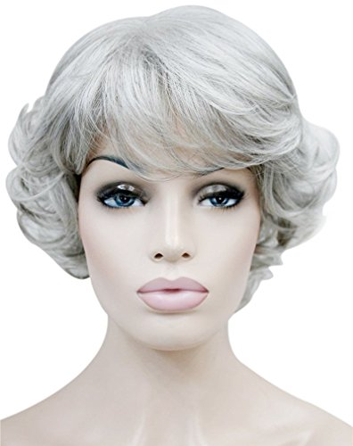 Kalyss Women's wigs Short curly Syntheitc Gray Hair Wig]()