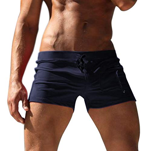COOFANDY Men's Beach Swimming Trunks Solid Square Leg Swimsuit with Zipper Pocket Navy ()