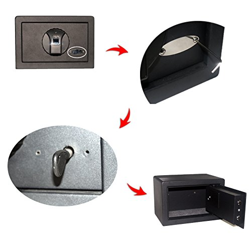 Alice Browning Solid Steel Biometric Personal Home Safe with Fast Access Fingerprint Recognition for Wall, Floor or Closet – Secures Jewelry, Money, Gun, Pistol, Firearms, Valuable, Collectibles by Alice Browning (Image #3)