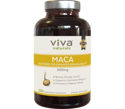 Viva Naturals Organic Maca Root, 500mg, 250 Veggie Capsules, Gelatinized for Enhanced Bioavailability