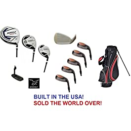 AGXGOLF Men's Magnum Executive Edition Golf Club Set w/Stand Bag; Made in USA; Right Hand: Cadet, Regular or Tall Length, Graphite Woods; 3, 5, 7 & 9 Irons + Sand Wedge + Free Putter