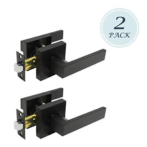 (Premium Matte Black Finish Knob Passage Heavy Duty Door Handle Set Durable Door Hardware, Door Handles for Left or Right Handing, Interior Door Handle 2 Pack 2.07 lb One Lever)
