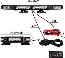 PROZOR 48 LED Luz Intermitente de Emergencia Magnética Baliza Impermeable IP65 21 Modos Luz Estroboscópica con Interruptor de Control de Pantalla 144W 12V / 24V para Vehículos Remolque: Amazon.es: Coche y moto