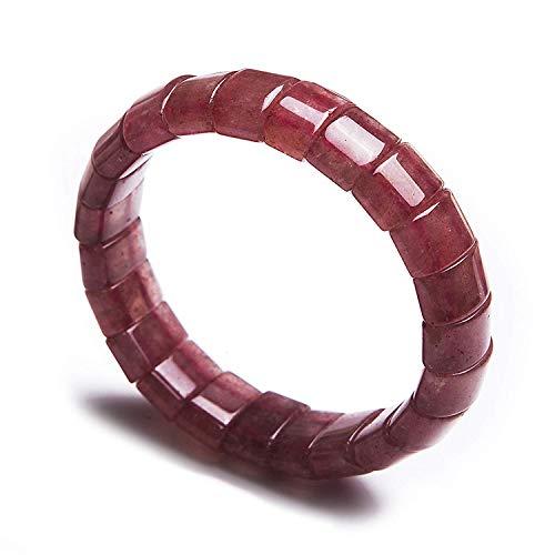DUOVEKT Natural Red Strawberry Quartz Bangle Bracelet for Women Men Anniversary Party Love Gift Red 15x8mm Beads Crystal Gemstone Fashion Bracelet AAAA