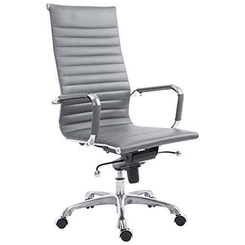 POLY & BARK EM-182-GRY-A Ribbed High Back Office Chair in Vegan Leather, Grey