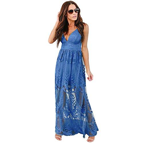 Vestidos V Profunda Vestido XINGMU De Vestido Encaje Largo Malla Verano Mujer De Blue x50wwdq8O