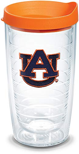 Tervis 1056609 Auburn Tigers Tumbler with Emblem and Orange Lid 16oz, Clear
