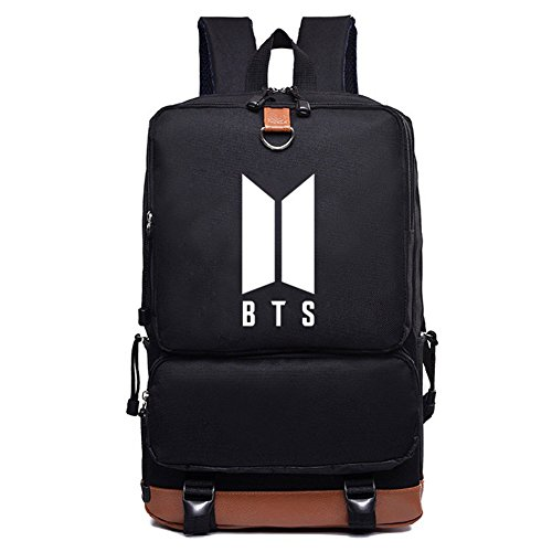 Kingmia BTS Rucksack Daypack Lässige Daypacks Bedrucktes Nylon Leinwand Schulter Rucksack Laptop Notebook Rucksack Handtasche für die Reise Schule(H21) H29 38bYz