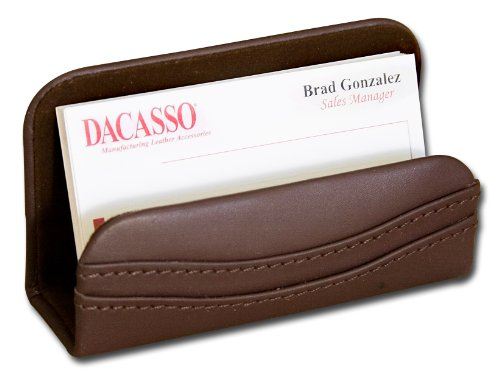 Dacasso Chocolate Brown Leather Business Card Holder