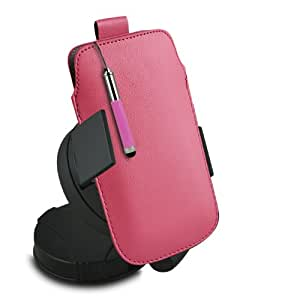 ONX3 Nokia Lumia 1520 Leather Slip cuerda del tirón de la PU de protección en la bolsa con el caso de Quick Release, 360 que gira la horquilla del parabrisas del coche y mini capacitivo Retractabletylus Pen (Baby Pink)