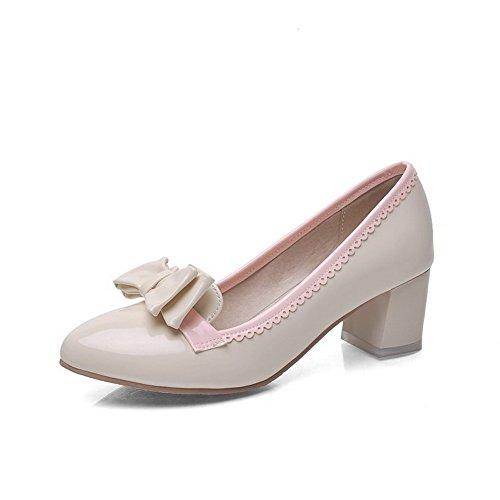 AgooLar Damen Lackleder Mittler Absatz Ziehen auf Gemischte Farbe Pumps Schuhe Cremefarben