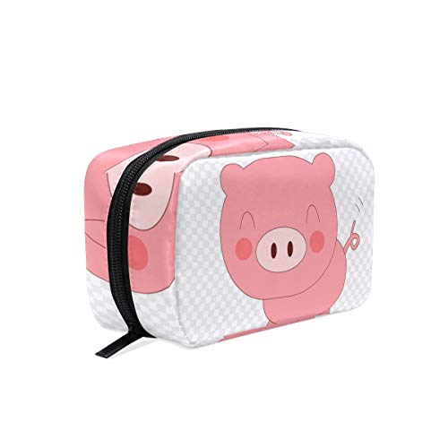 Porky Pig Domestic Cartoon Makeup Bag Organizer Portable Cosmetic Pouch Handbag With Zipper For Women Purse