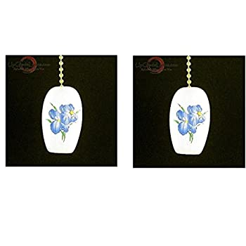 Upgradelights Pair Blue Iris Porcelain Ceiling Fan Pulls