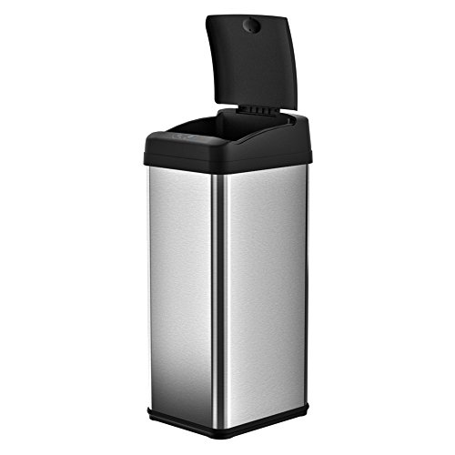 iTouchless 13 Gallon Stainless Steel Automatic Trash Can with Odor Control System, Big Lid Opening Sensor Touchless Kitchen Trash Bin by iTouchless