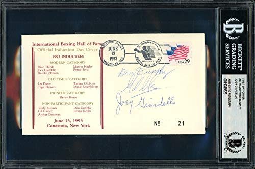 Gil Clancy, Don Dunphy & Joey Giardello Autographed Signed Memorabilia First Day Cover - Beckett Authentic
