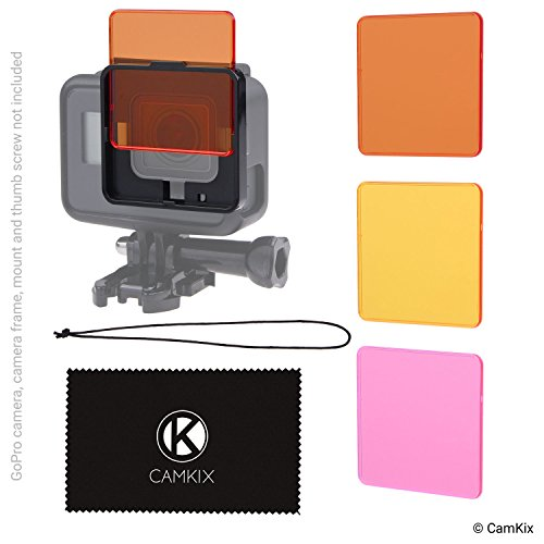 CamKix Diving Filter Kit Compatible with GoPro Hero 6 and Hero 5 Black - 3 Filters (1x Red, 1x Magenta, 1x Yellow) - Not for use with Waterproof housing