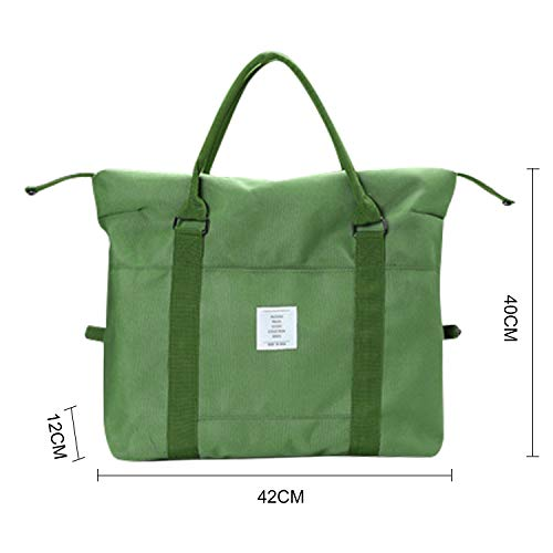 Green VCEC Travel bag Travel Duffle Bag Lightweight Waterproof,Women Ladies Man Canvas Weekender Bag Overnight Carry-on Tote Duffel in Trolley Handle