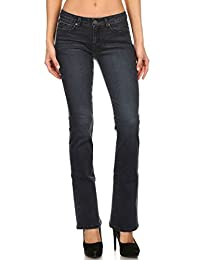 Enjean Women's Saturated Bootcut Jeans w/ Slight Fade, Dark Wash