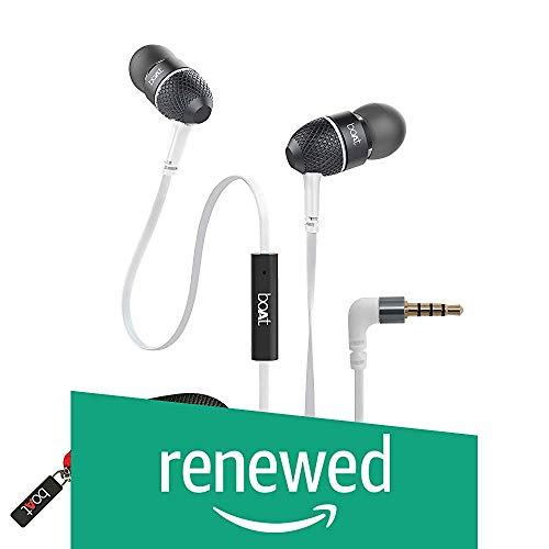Renewed  boAt BassHeads 225 Special Edition in Ear Headphones with Mic and Carrying Case  Frosty White