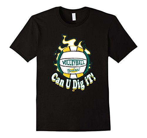 Men's MudgeWare Can U Dig It Volleyball Green Yellow T-Shirt XL Black (Can U Dig It compare prices)