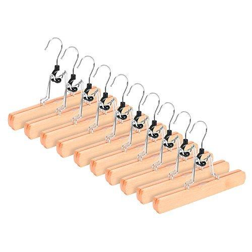 RoyalHanger Wooden Hangers 10 Pack, Skirt Hangers Pant Hangers Collection Wood Hangers Clamp Hanger Trouser Hangers, Non Slip, Natural Finish