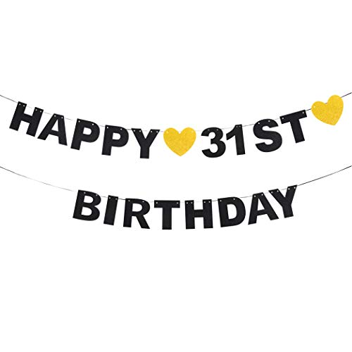 Happy 31st Birthday Black Glitter Paper Letter Banner Pennant Sweet Gold Glitter Heart Cheers to Thirty-one Years Old Bday Fabulous Anniversary Party Event Funny Hanging Ornament Decoration Gift. (Im The Shit Up In This Bitch)