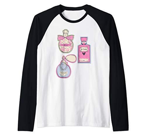 Paris Eau de Parfum Perfume Bottles Retro Souvenir French Raglan Baseball Tee