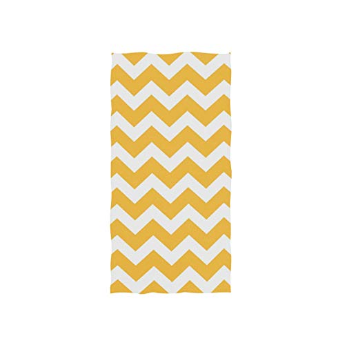 - Naanle Retro Vintage Yellow and White Chevron Pattern Soft Bath Towel Absorbent Hand Towels Multipurpose for Bathroom Hotel Gym and Spa 30