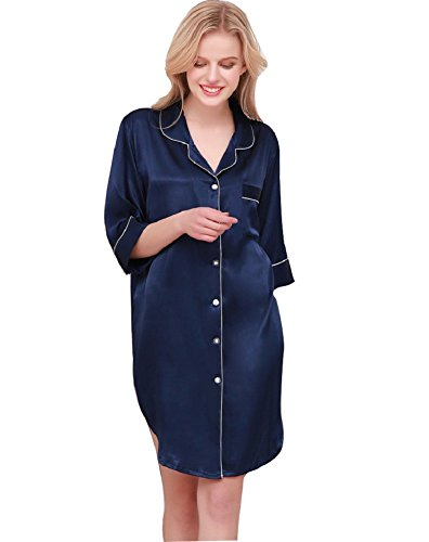 Silk Navy Front Button (SexyTown Womens Long Sleeve Sleepshirt Button-Front Nightshirts Pajama Top (Large, Style2-Navy Blue))