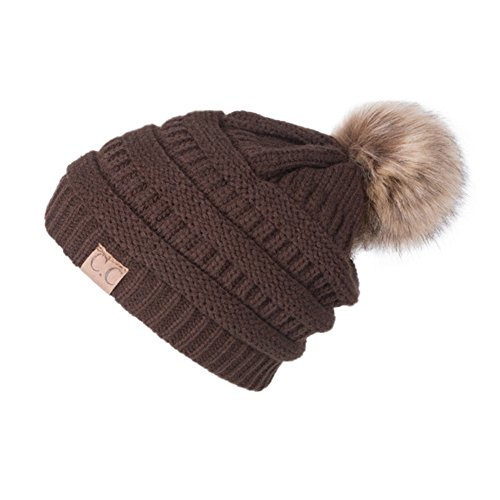 Warm Winter hat With Faaux Fur Pom Pom