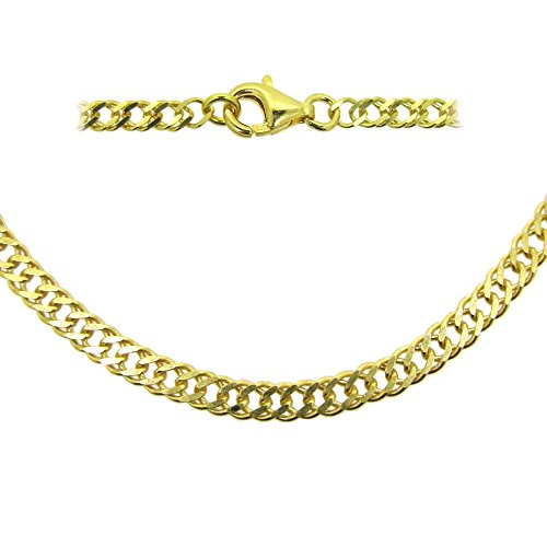 Gold Sterling Silver Double Diamond Cut Curb Necklace Chain, Fancy Gold Chain Necklace - All Sizes (7.5 inches (Gold Double Curb Chain)