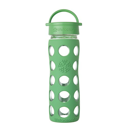 Lifefactory 16-Ounce BPA-Free Glass Water Bottle with Leakproof Classic Cap and Silicone Sleeve, Grass Green