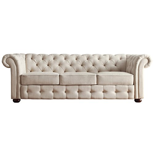 Tribecca Home Knightsbridge Beige Linen Tufted Scroll Arm Chesterfield Sofa. Showcasing Tufted Back and Rolled Arms in Beige Linen, Along with Bun Feet Finished in Dark Brown, This Elegant Padded Seat Sofa Can Provide Plenty of Support and Comfort in Style. This Sofa By Tribecca Home Provides a Vintage Look That Gives Your Home an Inviting, Relaxed Aura.