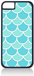 Blue Scallops- Case for the Apple Iphone 5C-Hard Black Plastic Outer Shell with Inner Soft Black Rubber Lining