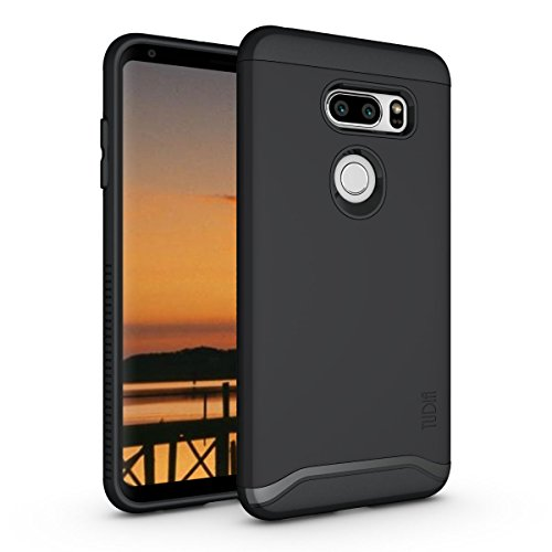 Black Protector Rubberized Case Shield (TUDIA MERGE LG V35 ThinQ Case with Heavy Duty Extreme Protection/Rugged but Slim Dual Layer Shock Absorption Case for LG V35 ThinQ (Matte Black))