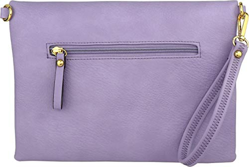 Bag Clutch Accents Fold Wristlet Envelope Violet Over Crossbody with Tassel xgFqSXwF